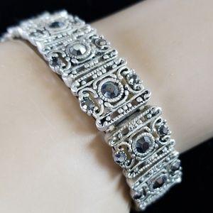 Vintage Silvertone Filigree Rhinestone Bracelet